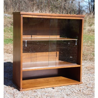 Vintage Mid Century Modern Walnut Jr. Hutch Small Glass Display Cabinet Bookcase Preview