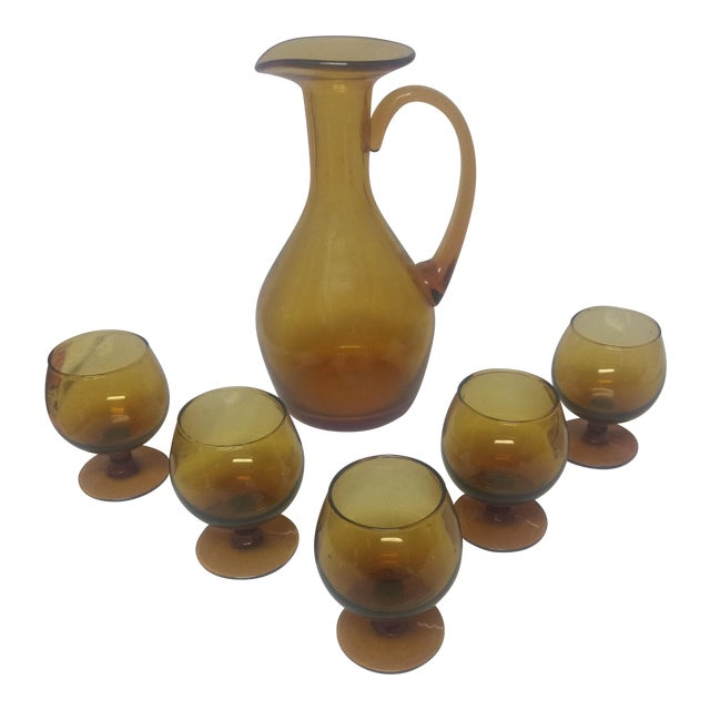 Hand Blown Amber Decanter & Glasses - Set of 6 For Sale