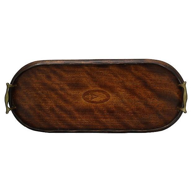 Antique English tea tray. Delicate wavy edge and shell inlay. No maker's mark. Light wear.