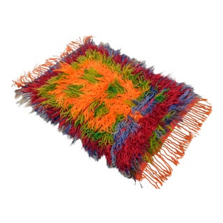 Turkish Hand-Knotted Shaggy Rug Mohair Wool Tulu Rug - 2′9″ × 3′11″ For Sale