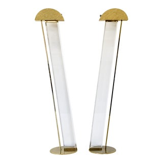 Fredrick Ramond Hollywood Regency Lucite and Brass Floor Lamps - a Pair For Sale