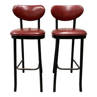 Lion Brand Late 20th-Century Barstools Red Vinyl - a Pair For Sale