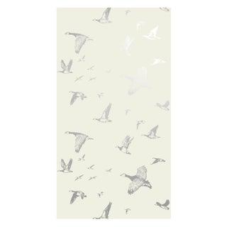 Silver Sky Flock in Flight Wallpaper - Double Roll For Sale