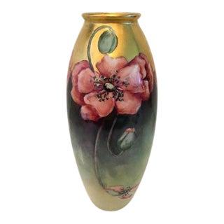 Antique Limoges France B&Co Bernard & Co Poppy & Gold Vase For Sale