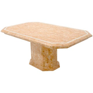 Tessellated Red & White Marble Tile Single Pedestal Rectangular Dining Table For Sale
