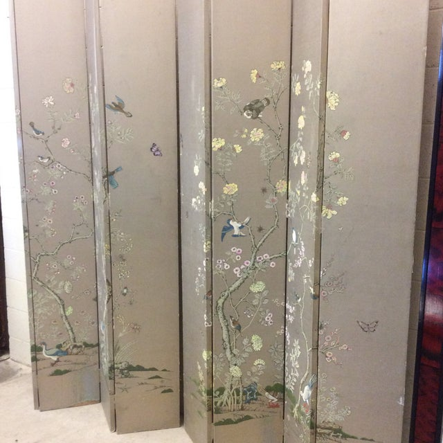 Hand Painted Chinoiserie Wallpaper Screens