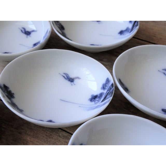 Vintage Japanese Blue and White Small Dishes - Set of 6 For Sale - Image 10 of 13