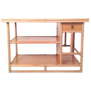 Mid Century Modern McGuire Bamboo, Lamanent & Brass Expandable Bar / Server / Buffet