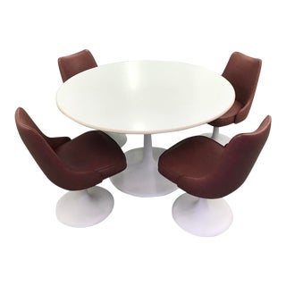 Mid Century Modern Tulip Swivel Chairs in the Style of Knoll Dining Furniture-Set of 5 For Sale