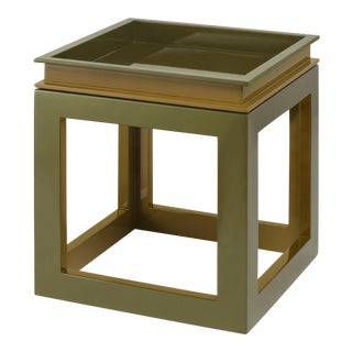 Large Cube Tray Table in Light Olive / Lichen Green - Jeffrey Bilhuber for The Lacquer Company For Sale