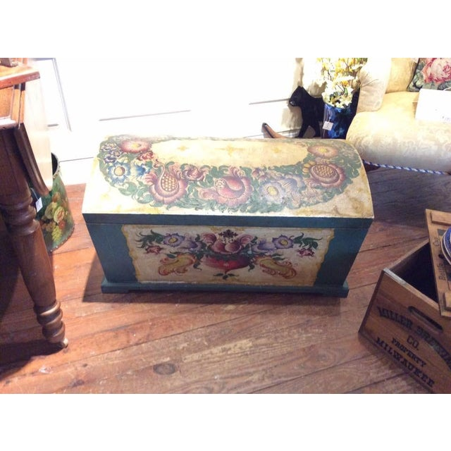 Dome-Top Hand-Painted Blanket Chest - Image 3 of 9
