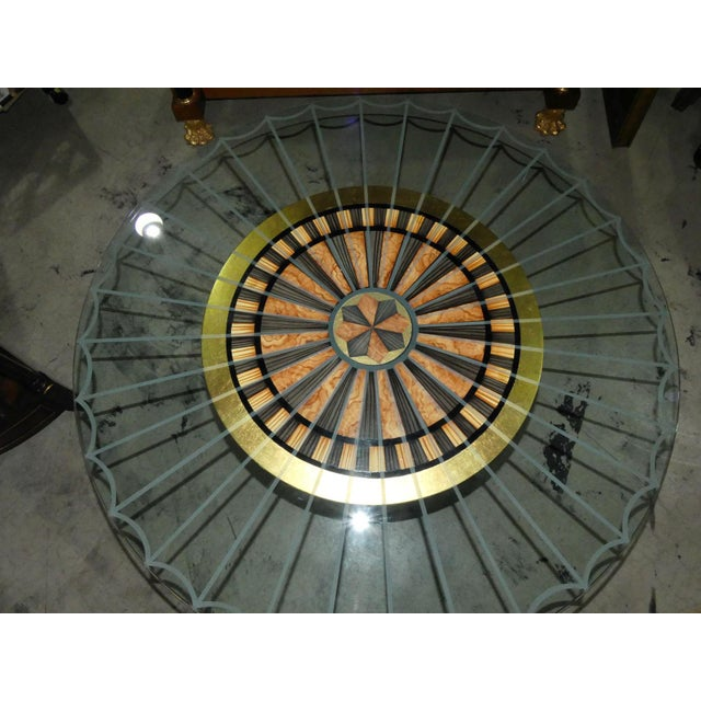 Art Deco Glass Top Center Table, Accent Table, or Dining Table For Sale In West Palm - Image 6 of 7