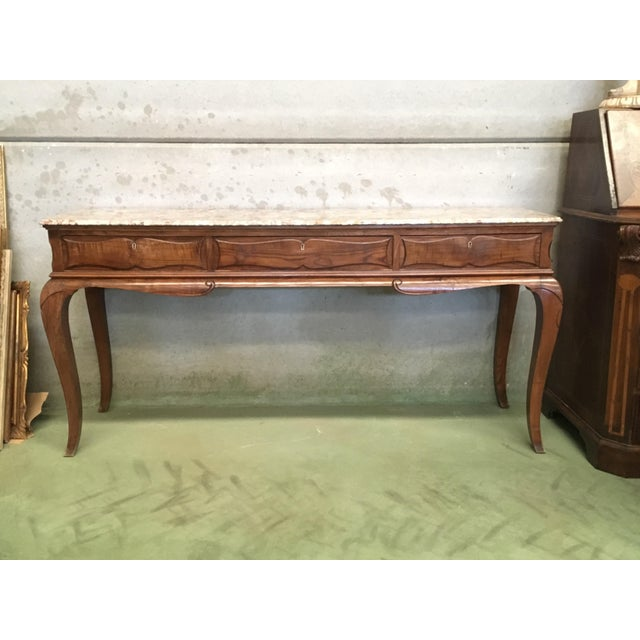 19th French Three Drawers Console Table With Top Marble For Sale - Image 4 of 11