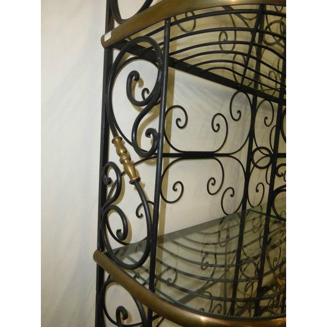 Vintage Baker's Rack Solid Wrought Iron W Solid Brass Hardware Bookcase For Sale - Image 9 of 11