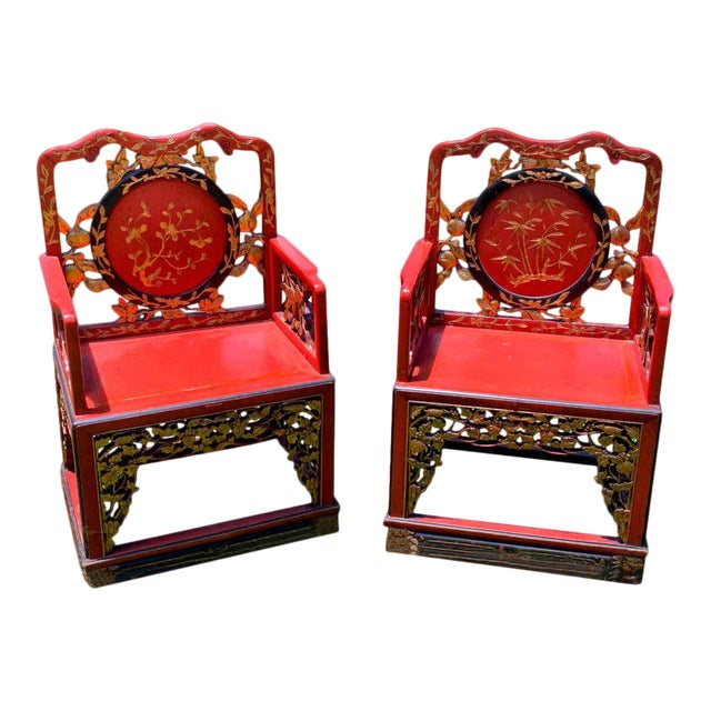 Chinese Red Lacquer and Gilt Throne Chairs - a Pair For Sale