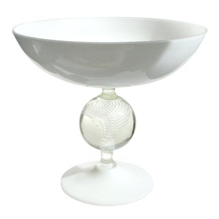 Archimede Seguso Murano White Ribbon Paperweight Italian Art Glass Compote Bowl For Sale
