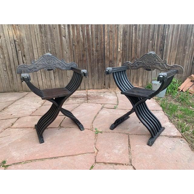Italian Walnut Savonarola Curule Chairs With Loin Motif- a Pair For Sale - Image 11 of 12