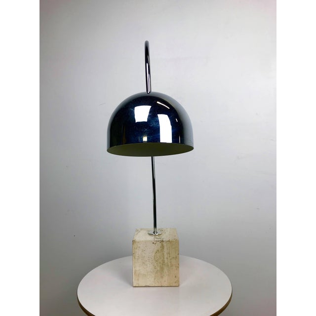 Modern Travertine Marble and Chrome Table Lamp by Harvey Guzzini For Sale - Image 3 of 6
