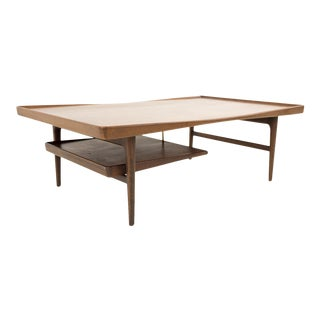 Mid Century Modern Poul Jensen for Selig Teak Coffee Table With Floating Tray For Sale