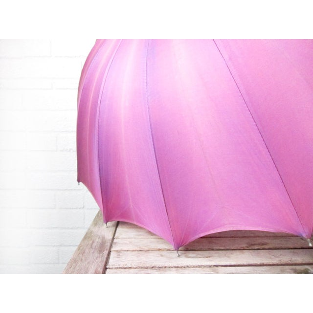 Vintage Purple 1950s Umbrella With Lucite Handle - Image 5 of 6