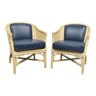Vintage Mid Century Ficks Reed Rattan Leather Club Chairs- A Pair For Sale