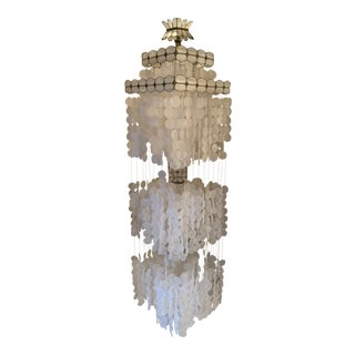 1960s Vintage Hanging Capiz Shell Lamp Square Shape For Sale