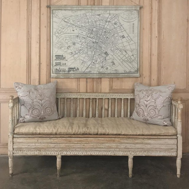 Yellow 18th Century Swedish Gustavian Period Day Bed ~ Hall Bench Ca. 1790 For Sale - Image 8 of 13