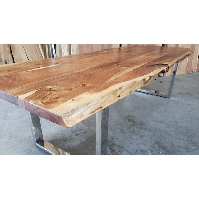 Rustic Live Edge, Acacia Wood Dining Table For Sale In Los Angeles - Image 6 of 8