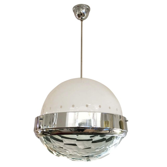 Large Faceted Lens Pendant Attributed to Lumi, Italy, 1960s For Sale