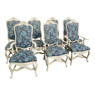 Vintage Minton Spidell French Country Floral Dining Chairs - Set of 7