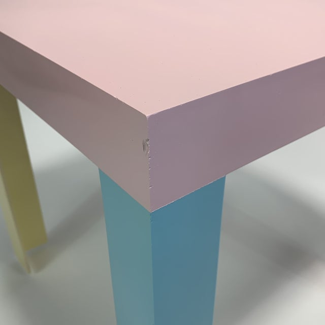 Plastic Memphis Inspired Pastel Parson Style Side Table For Sale - Image 7 of 10