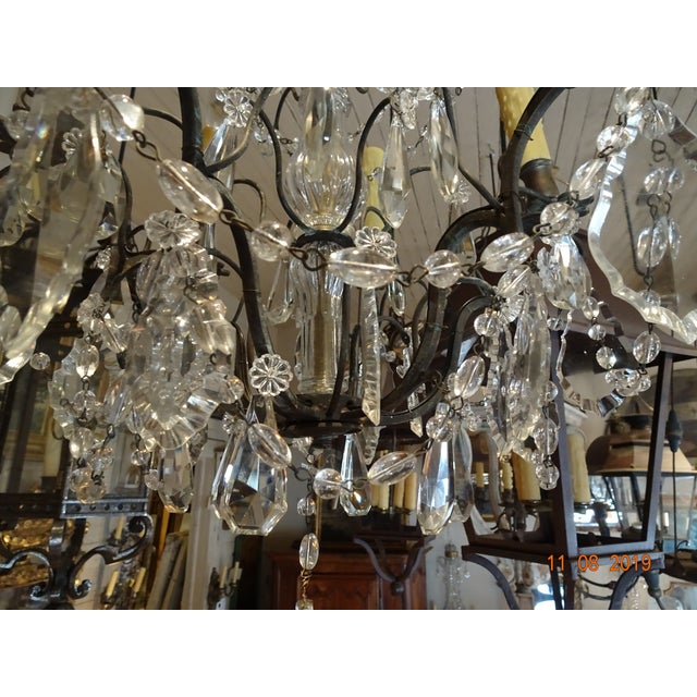 Small Vintage French Crystal Chandelier For Sale - Image 11 of 13