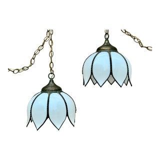 Antique Brass White Slag Glass Tulip Pendant Lights - a Pair For Sale