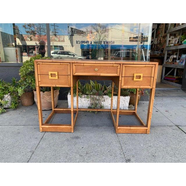 Mid-Century Vintage Bamboo Trimmed Desk For Sale - Image 11 of 11