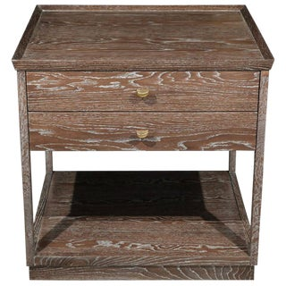 Customizable Paul Marra Ceruse Oak Two-Tier Nightstands For Sale