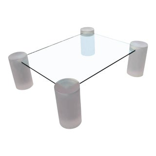 Pink Frosted Lucite Column Architectural Glass Coffee Cocktail Table
