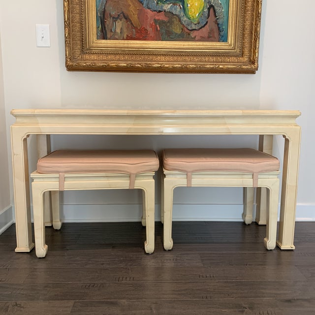 Vintage Ming Style Henredon Console Table & Stools- 3 Pieces For Sale - Image 13 of 13