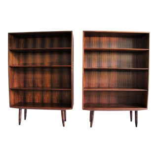 Povl Dinesen Mid Century Modern Danish Rosewood Bookcases - a Pair