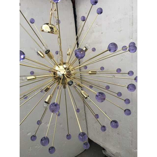 Murano Glass Sputnik Metal Frame Gold Chandelier For Sale - Image 9 of 10