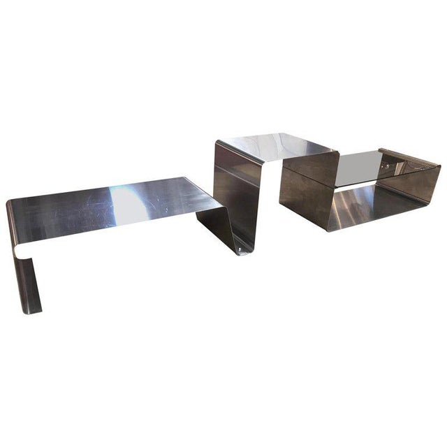 Sculptural Coffee Table Made of Three Modular Glass and Chrome Pieces, 1970s For Sale - Image 12 of 12