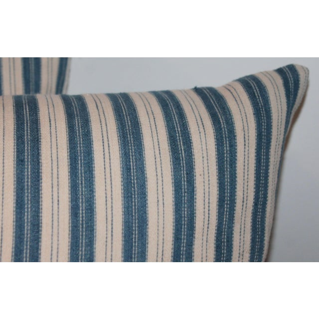 Rustic Striped Ticking Pillows - A Pair For Sale - Image 3 of 7