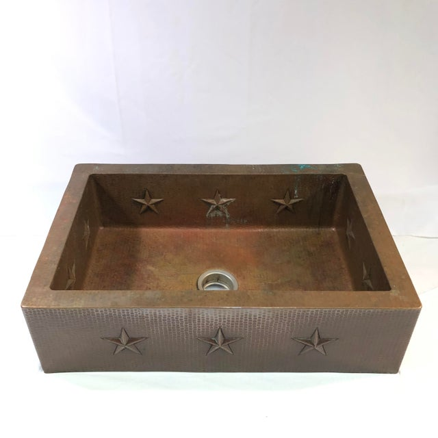 """Hammered Copper 33"""" Star Apron Sink For Sale - Image 13 of 13"""