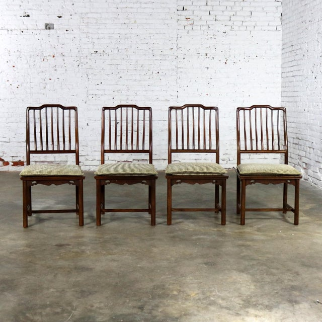 Asian Four Drexel Heritage Chinoiserie Ming Style Spindle Back Dining Chairs For Sale - Image 3 of 13