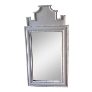 Vintage Faux Bamboo Pagoda Chinoiserie White Lacquered Wall Mirror For Sale