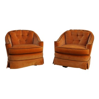 Mid-Century Modern Erwin Lambeth Orange Velvet Lounge Chairs - a Pair For Sale