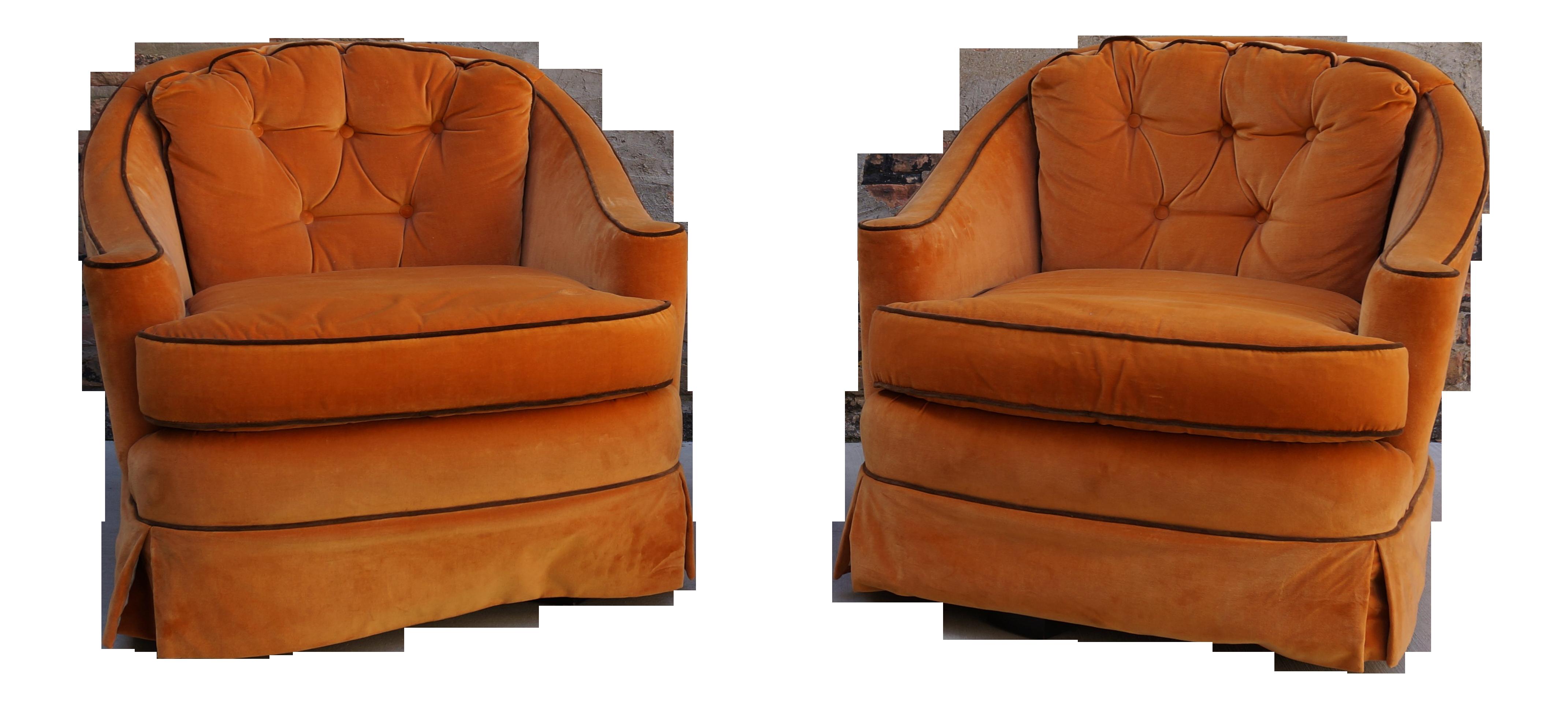 Mid Century Modern Erwin Lambeth Orange Velvet Lounge Chairs   A Pair