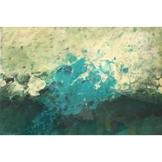 El Prat Colorful Abstract Landscape Water Painting in Blue, Green For Sale