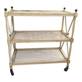 1960s Hollywood Regency Cream Bar Cart Shelf Unit For Sale