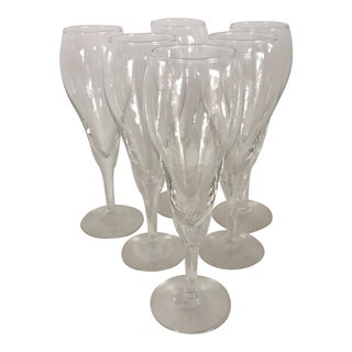 Tulip Style Crystal Champagne Glasses - Set of 6 For Sale