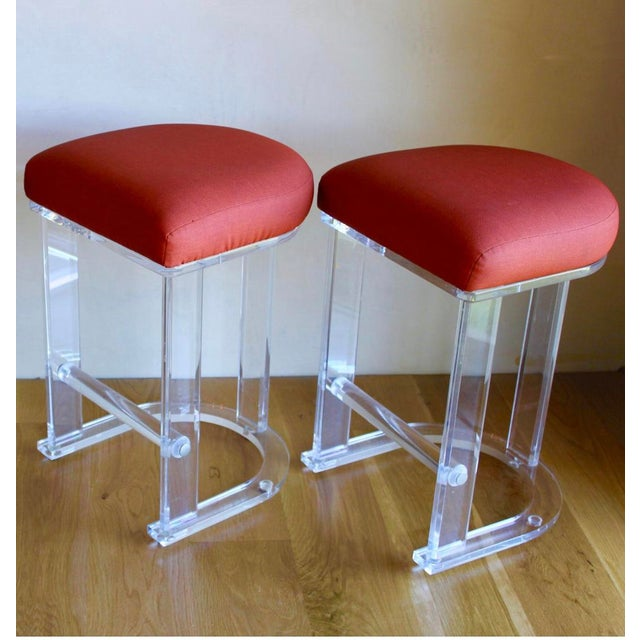 Mid Century Vintage Lucite Hill Manufacturing Counter Bar Stools-Set of 2 For Sale In San Diego - Image 6 of 8
